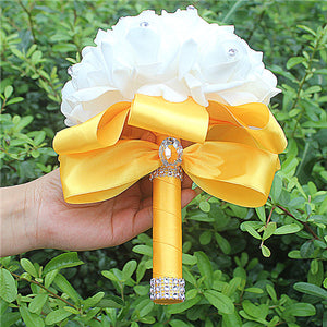 Rose and Ribbon Bouquet available in 13 colours with Rhinestone Jewels on StemsGold yellow D-weddingniknaks