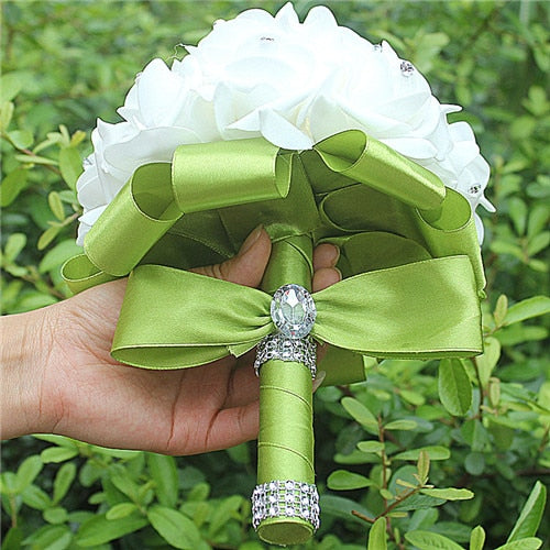 Rose and Ribbon Bouquet available in 14 colours with Rhinestone Jewels on Stems - weddingniknaks
