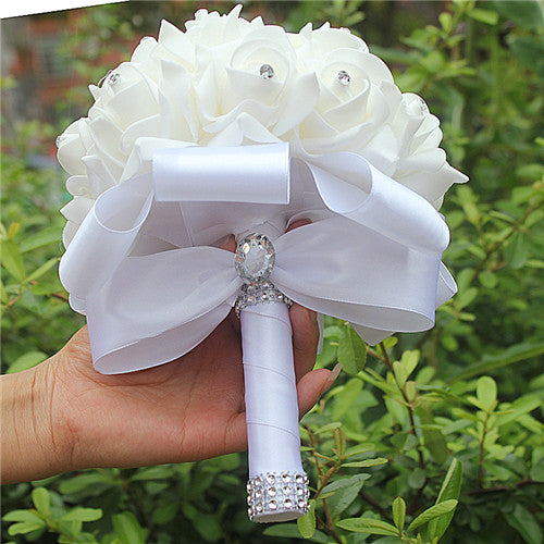 Rose and Ribbon Bouquet available in 13 colours with Rhinestone Jewels on StemsWhite D-weddingniknaks