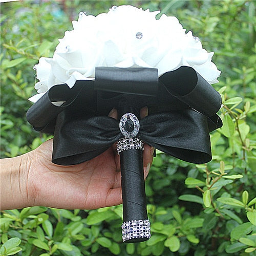 Rose and Ribbon Bouquet available in 14 colours with Rhinestone Jewels on StemsBlack D-weddingniknaks