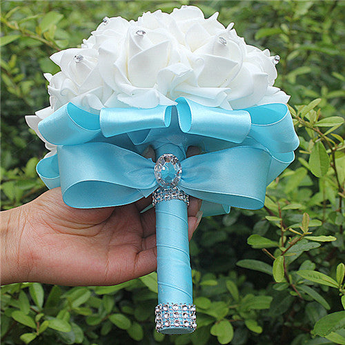 Rose and Ribbon Bouquet available in 13 colours with Rhinestone Jewels on StemsBaby Blue D-weddingniknaks