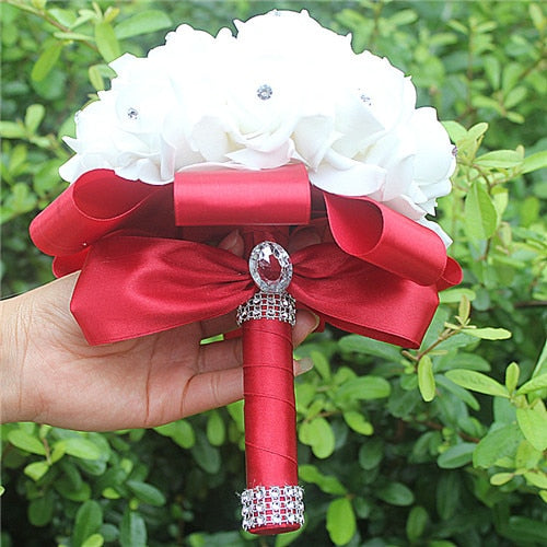 Rose and Ribbon Bouquet available in 13 colours with Rhinestone Jewels on StemsWine red D-weddingniknaks