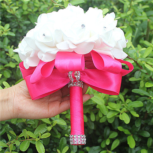 Rose and Ribbon Bouquet available in 13 colours with Rhinestone Jewels on StemsHot Pink D-weddingniknaks