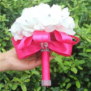 Rose and Ribbon Bouquet available in 14 colours with Rhinestone Jewels on StemsHot Pink D-weddingniknaks