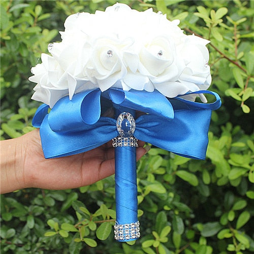 Rose and Ribbon Bouquet available in 14 colours with Rhinestone Jewels on StemsRoyal blue D-weddingniknaks