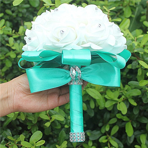 Rose and Ribbon Bouquet available in 14 colours with Rhinestone Jewels on StemsMint Green D-weddingniknaks