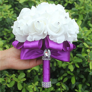 Rose and Ribbon Bouquet available in 13 colours with Rhinestone Jewels on StemsPurple D-weddingniknaks