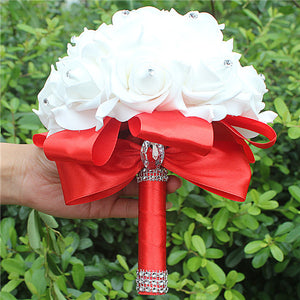 Rose and Ribbon Bouquet available in 14 colours with Rhinestone Jewels on StemsRed D-weddingniknaks