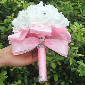 Rose and Ribbon Bouquet available in 13 colours with Rhinestone Jewels on StemsPink D-weddingniknaks