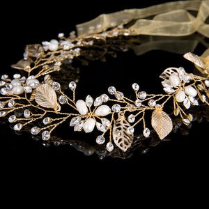 Bridal Hairband/Headdress in Floral Vine style using Beads and Crystals-weddingniknaks