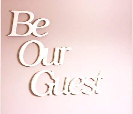 White 'Be Our Guest'  Letter Wording for Decoration - weddingniknaks