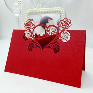 100 Laser Cut Red Heart And Flowers Place Card/Table Numbering/Name CardsDefault Title-weddingniknaks