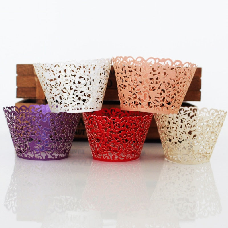 50 Laser Cut Cupcake Wrappers available in Pink, White, Purple, Red and Beige/Ivory - weddingniknaks