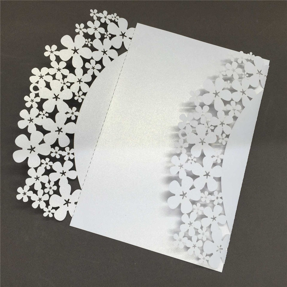 40 Romantic Carved Flower Pattern Iridescent Paper Invitation Cards-weddingniknaks