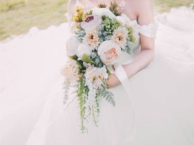 Stunning Artificial Bridal Bouquet In Pinks With Green Foliage - weddingniknaks