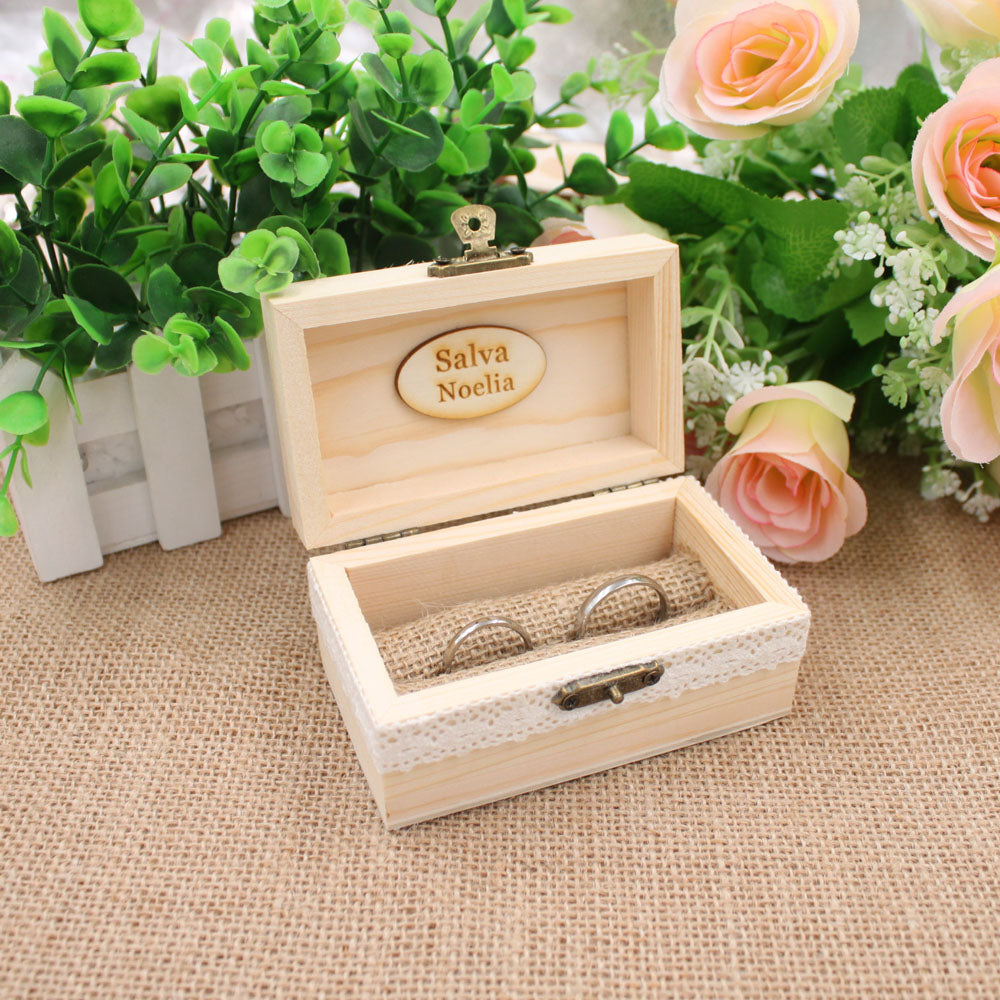 Personalised Hinged Wooden Wedding Ring Holder Box With A Choice Of 6 Styles. - weddingniknaks