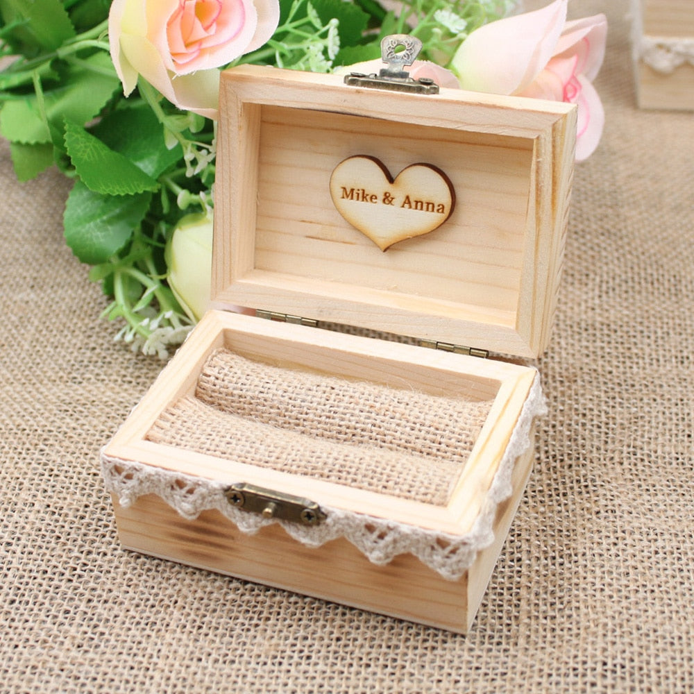 Customised Wooden Wedding Ring Box, Burlap Inner and Lace Trim. Available in 4 different styles-weddingniknaks