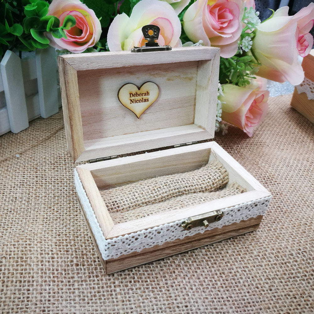 Customised Wooden Ring Box Holder, With A Choice Of 6 Different Styles For The Top.-weddingniknaks
