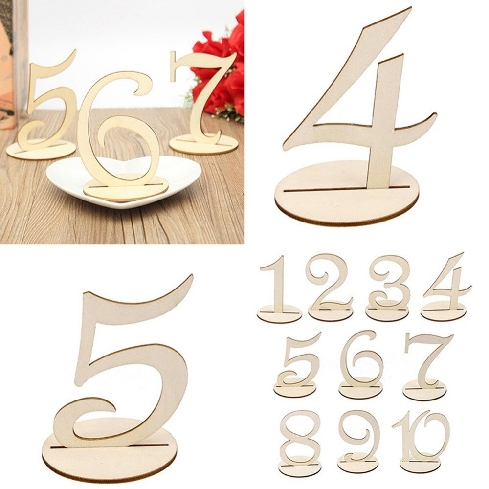 10 Piece Set Wooden Wedding Table Numbers 1-10 Or 11-20-weddingniknaks