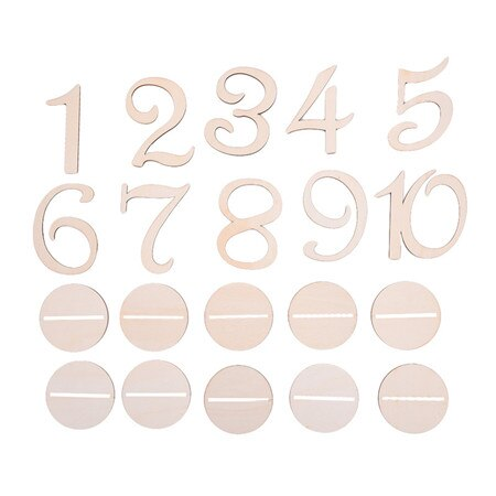 10 Piece Set Wooden Wedding Table Numbers 1-10 Or 11-20A-weddingniknaks