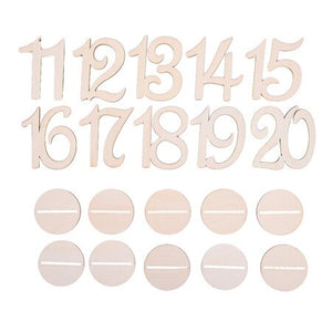 10 Piece Set Wooden Wedding Table Numbers 1-10 Or 11-20B-weddingniknaks