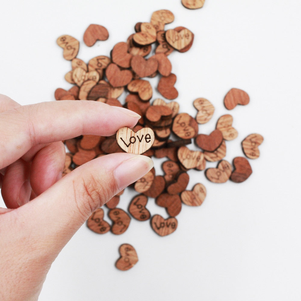 100 Wooden Love Hearts Engraved With The Word 'Love' - weddingniknaks