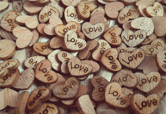 100 Wooden Love Hearts Engraved With The Word 'Love'Default Title-weddingniknaks