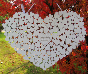 PERSONALISED WOODEN WHITE WEDDING HEART FOR GUESTS TO SIGN-weddingniknaks