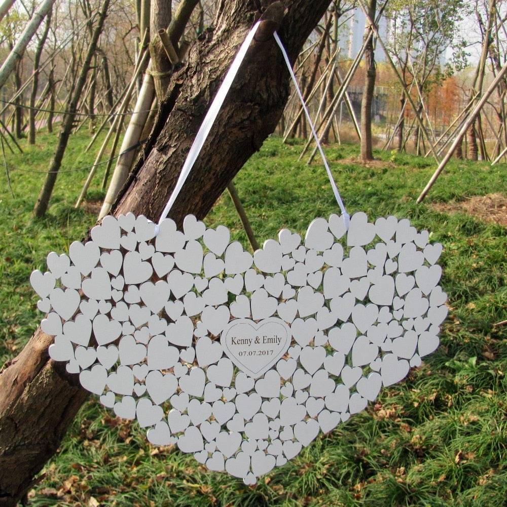 PERSONALISED WOODEN WHITE WEDDING HEART FOR GUESTS TO SIGN - weddingniknaks