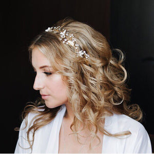Bridal Hairband/Headdress in Floral Vine style using Beads and Crystals - weddingniknaks