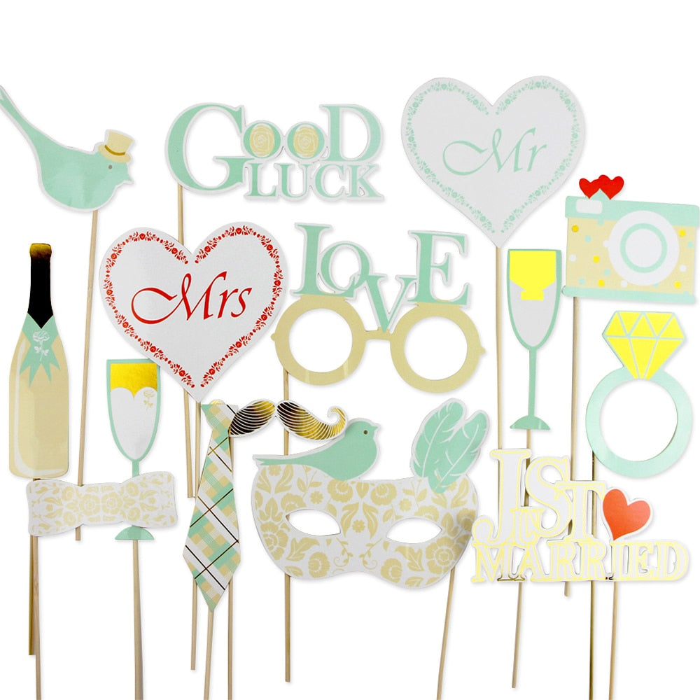 16 WEDDING SELFIE/PHOTO BOOTH/PHOTO PROPS. AVAILABLE IN 2 STYLES-weddingniknaks