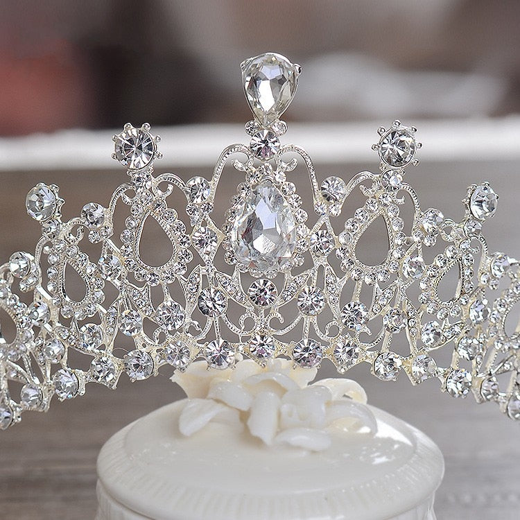 Crown Style Tiara Decorated With Crystals, Comes With Matching Earrings And Necklace - weddingniknaks