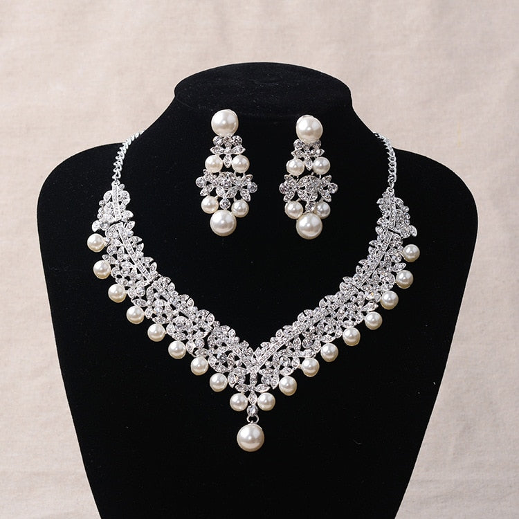Tiara with matching Necklace and Earrings, decorated with Pearl and Rhinestone - weddingniknaks