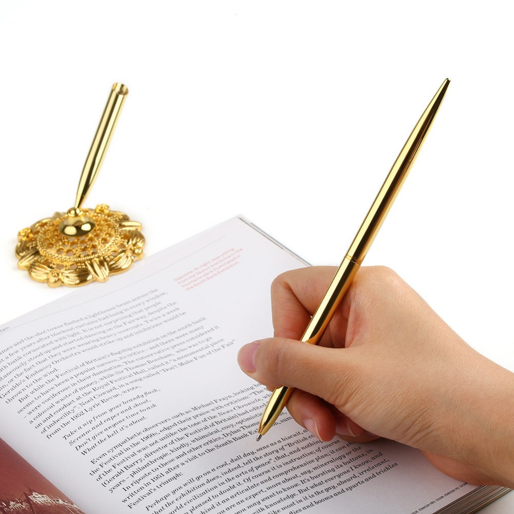 Gold Coloured Pen with Matching Filigree Base for Registry/Guestbook Signing.-weddingniknaks