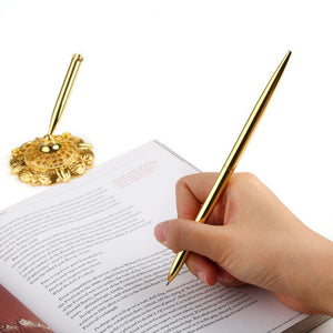 Gold Pen with Matching Filigree Base for Registry/Guestbook Signing. - weddingniknaks