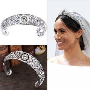 TIARA WITH ROYAL RHINESTONE CRYSTAL, REPLICA OF MEGHAN MARKLE'S TIARA - weddingniknaks