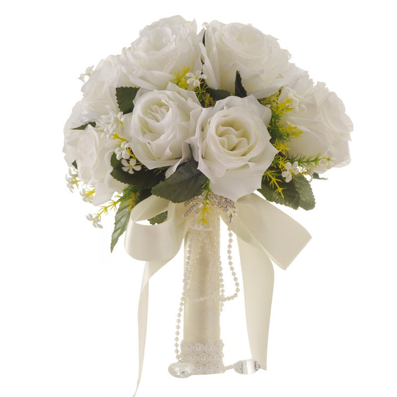 HANDMADE WHITE ROSE FLOWER BOUQUET WITH SIMULATED PEARL DECORATION - weddingniknaks