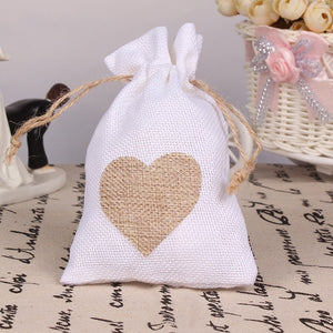 50 WHITE LINEN/NATURAL BURLAP DRAWSTRING VINTAGE FAVOR BAGS. AVAILABLE IN A VARIETY OF COLOURSStyle B-weddingniknaks