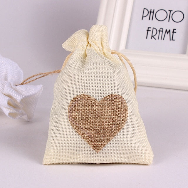 50 WHITE LINEN/NATURAL BURLAP DRAWSTRING VINTAGE FAVOR BAGS. AVAILABLE IN A VARIETY OF COLOURSStyle C-weddingniknaks