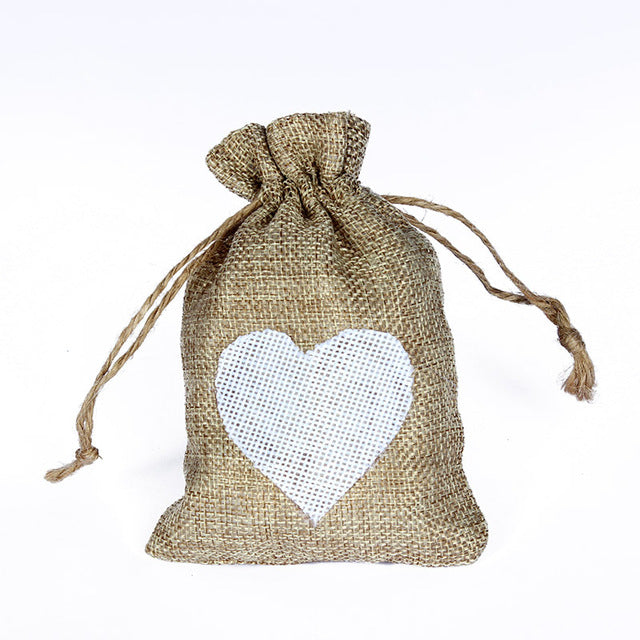 50 WHITE LINEN/NATURAL BURLAP DRAWSTRING VINTAGE FAVOR BAGS. AVAILABLE IN A VARIETY OF COLOURSStyle D-weddingniknaks