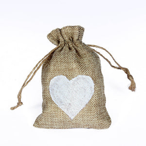 50 WHITE LINEN/NATURAL BURLAP DRAWSTRING VINTAGE FAVOR BAGS. AVAILABLE IN A VARIETY OF COLOURS - weddingniknaks