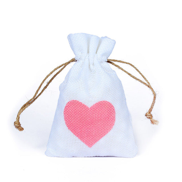 50 WHITE LINEN/NATURAL BURLAP DRAWSTRING VINTAGE FAVOR BAGS. AVAILABLE IN A VARIETY OF COLOURSStyle E-weddingniknaks