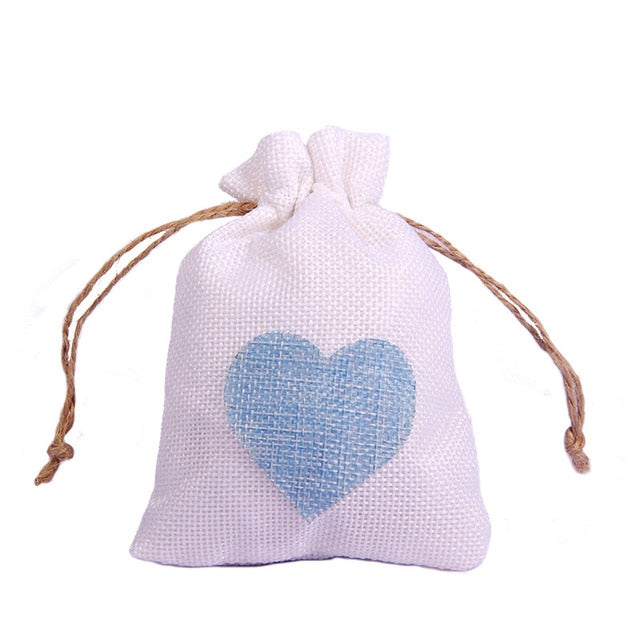 50 WHITE LINEN/NATURAL BURLAP DRAWSTRING VINTAGE FAVOR BAGS. AVAILABLE IN A VARIETY OF COLOURSStyle G-weddingniknaks