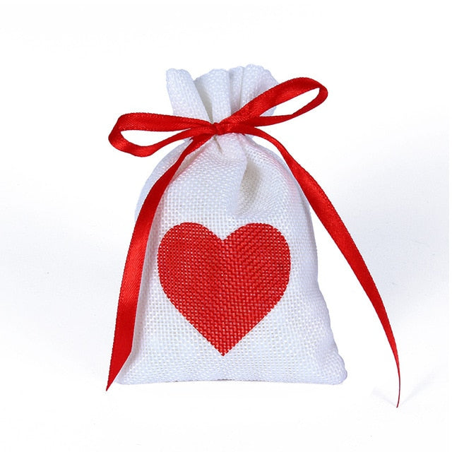 50 WHITE LINEN/NATURAL BURLAP DRAWSTRING VINTAGE FAVOR BAGS. AVAILABLE IN A VARIETY OF COLOURSStyle J-weddingniknaks