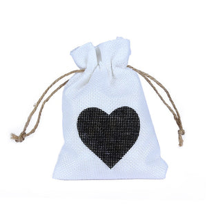 50 WHITE LINEN/NATURAL BURLAP DRAWSTRING VINTAGE FAVOR BAGS. AVAILABLE IN A VARIETY OF COLOURSStyle K-weddingniknaks