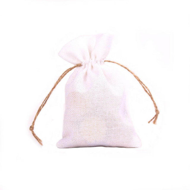50 WHITE LINEN/NATURAL BURLAP DRAWSTRING VINTAGE FAVOR BAGS. AVAILABLE IN A VARIETY OF COLOURSStyle O-weddingniknaks