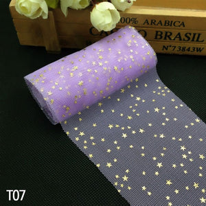 5 Meters Soft Sequin Stars Tulle Roll Decoration. Available in 9 Colours - weddingniknaks