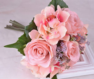 Rose and Hydrangea Bouquet available in 9 colours. - weddingniknaks