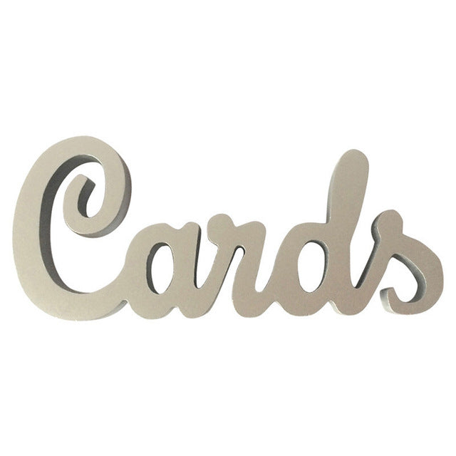 Wooden 'Cards' Wedding Sign available in Gold or Silver.Silver-weddingniknaks