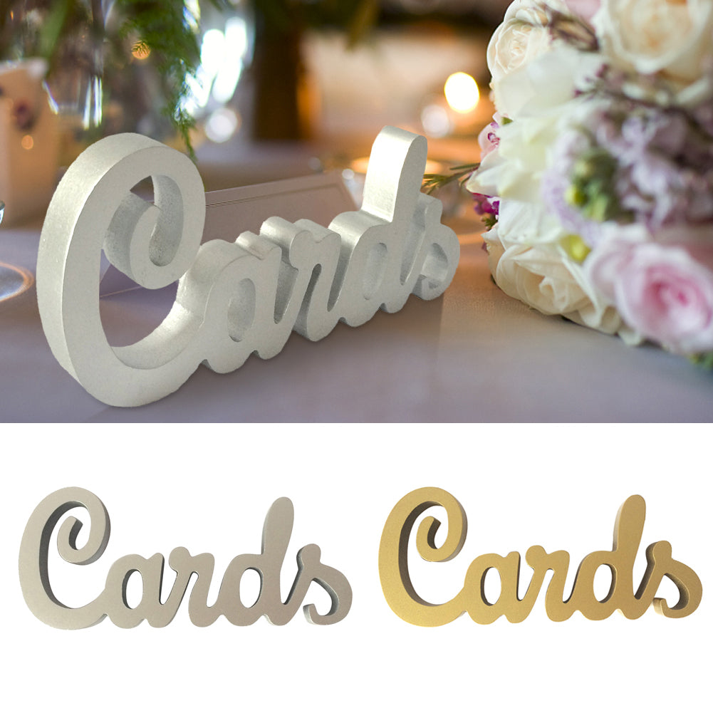 Wooden 'Cards' Wedding Sign available in Gold or Silver.-weddingniknaks